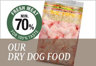 Our dry dog food is made with min. 70 % fresh meat!