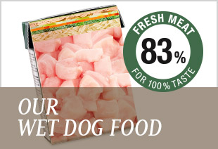 Our wet dog food is made with 80 % fresh meat!